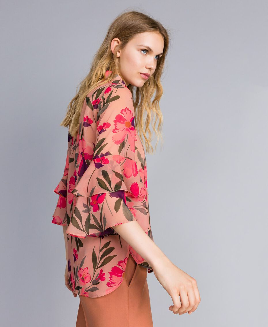 "Bluse aus Chiffon mit Blumenprint Print ""Rosa Tulpe"" Frau TA825S-02"
