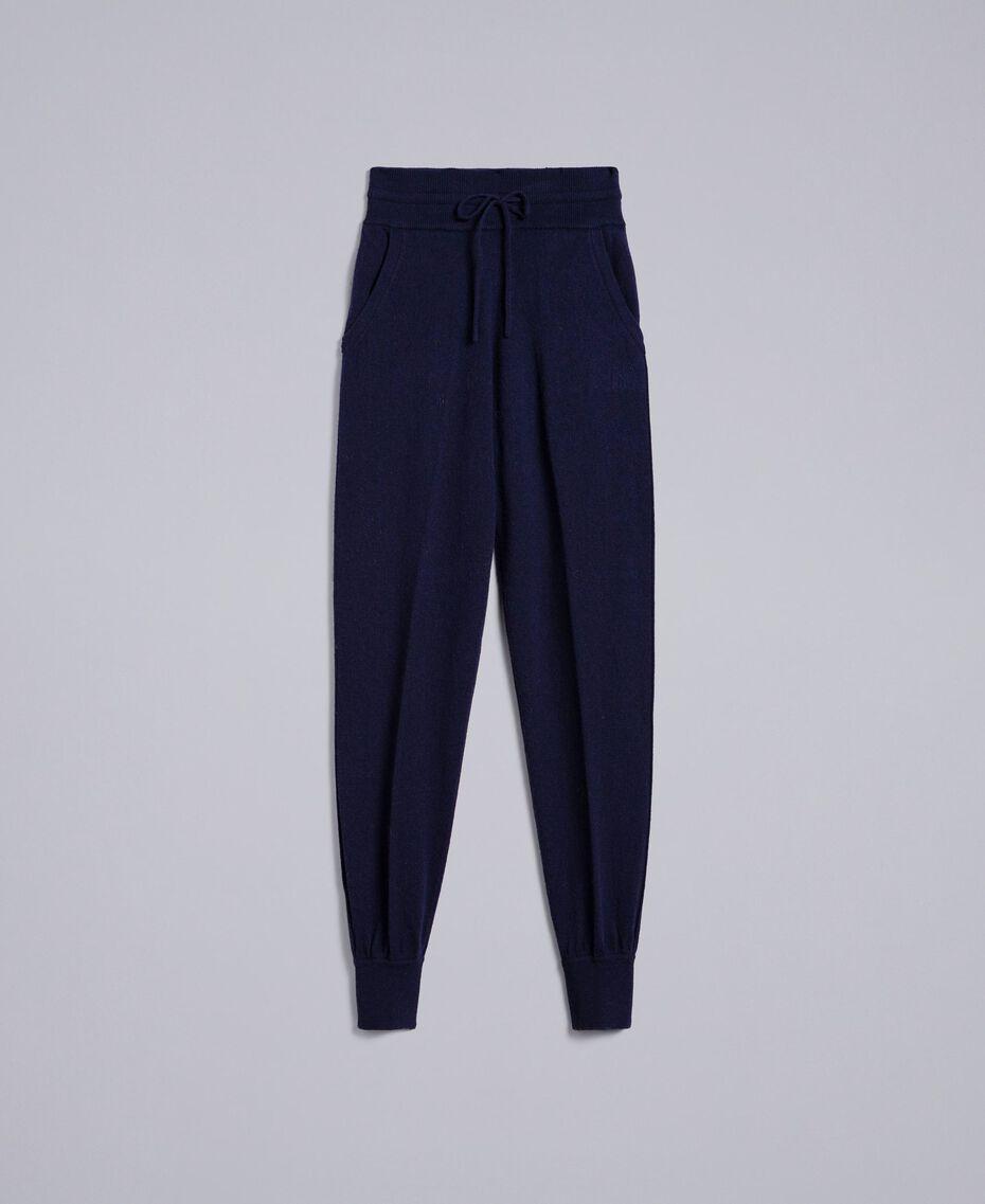 Pantaloni jogging in lana e cashmere Blu Notte Donna TA83AA-0S