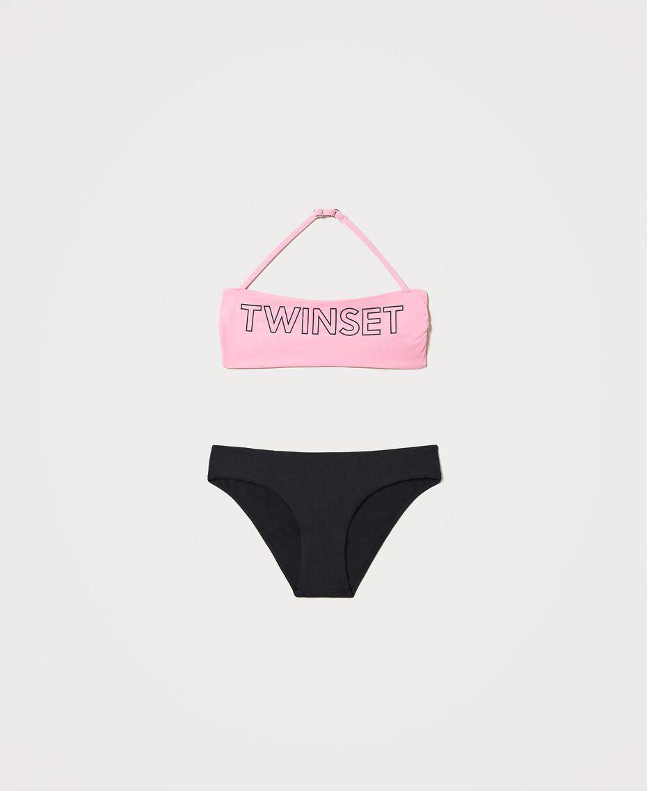 "Bandeau bikini with logo Two-tone ""Rose Bloom"" Pink / Black Child 211GJM971-01"