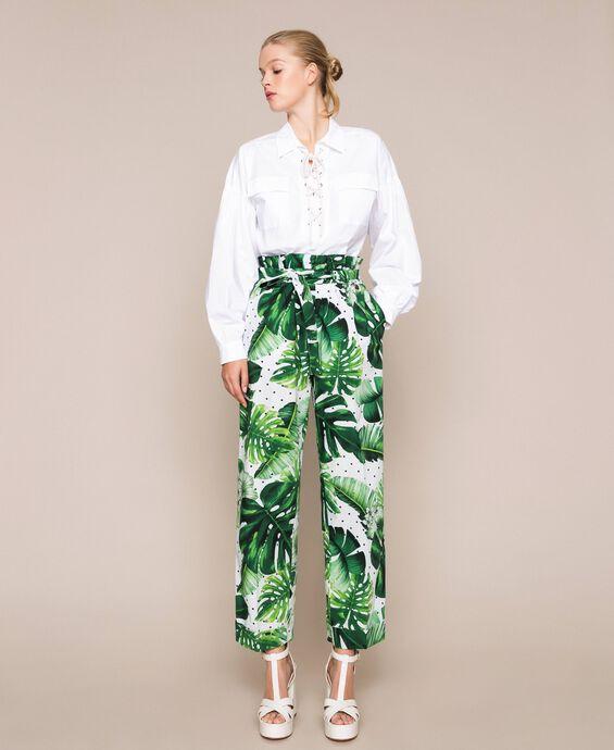 Pantaloni a vita alta in popeline stampato