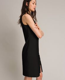 Fleece dress with slit and logo Black Woman 191LL28EE-02
