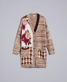 "Floral print houndstooth jacquard cardigan ""Nude"" Pink Floral Jacquard Woman SA83HC-0S"