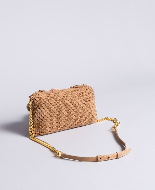 Crocheted shoulder bag with patch Camel Woman AA8PJ1-03