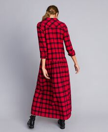 "Long check flannel dress Bicolour ""Poppy"" Red / Black Plaid Flannel Woman YA82EB-03"
