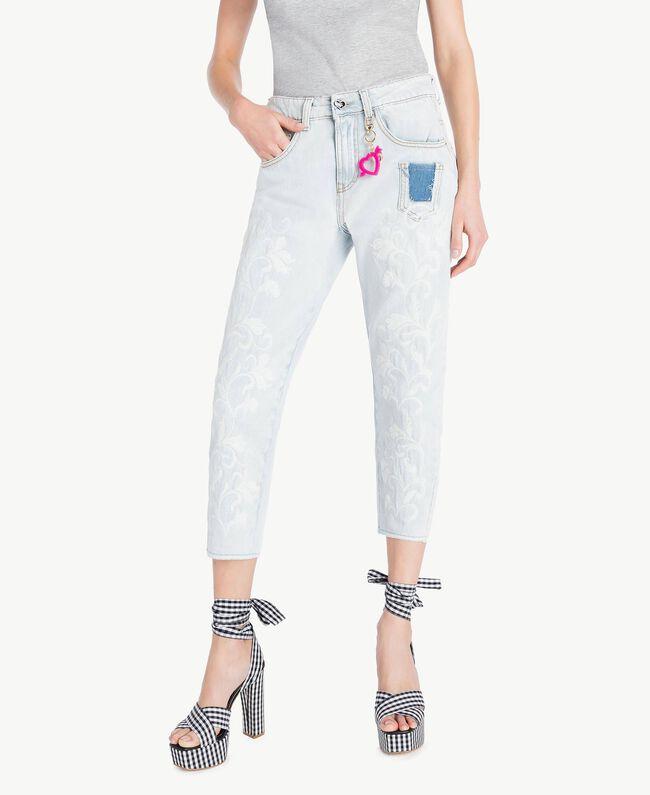 Girlfriend-Jeans Denimblau Frau YS82Q8-01