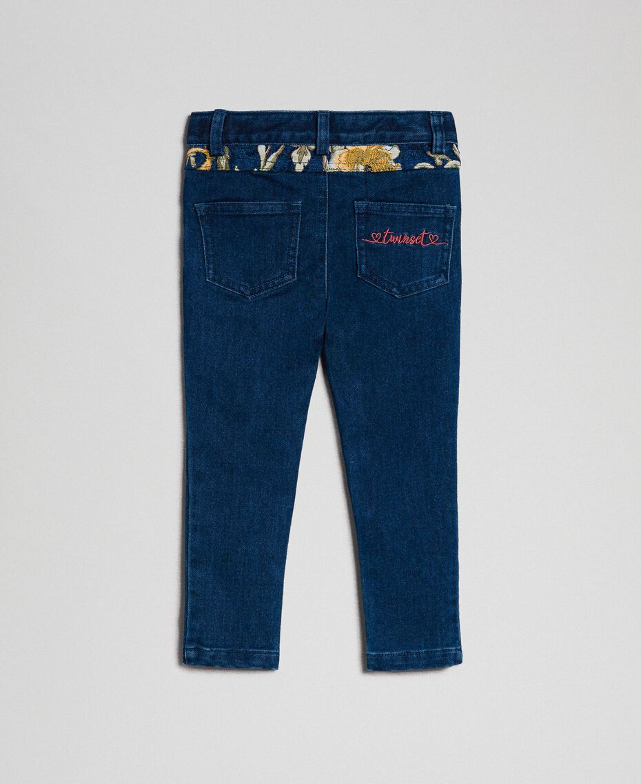 Skinny trousers with jacquard pockets Denim Effect / Brocade Child 192GB2630-0S