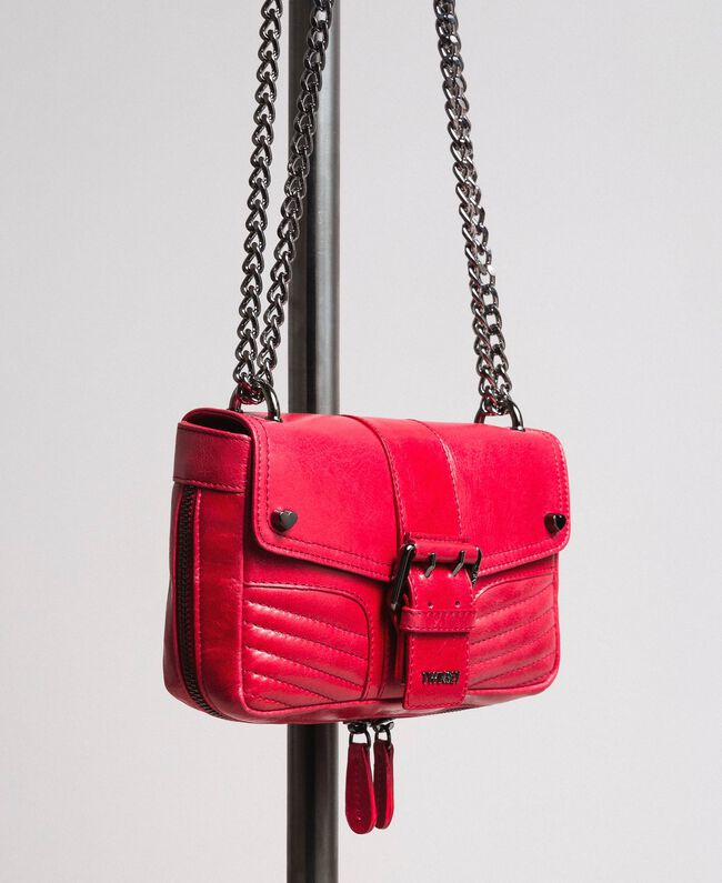 "Rebel leather shoulder bag ""Ruby"" Red Woman 191TA7237-01"