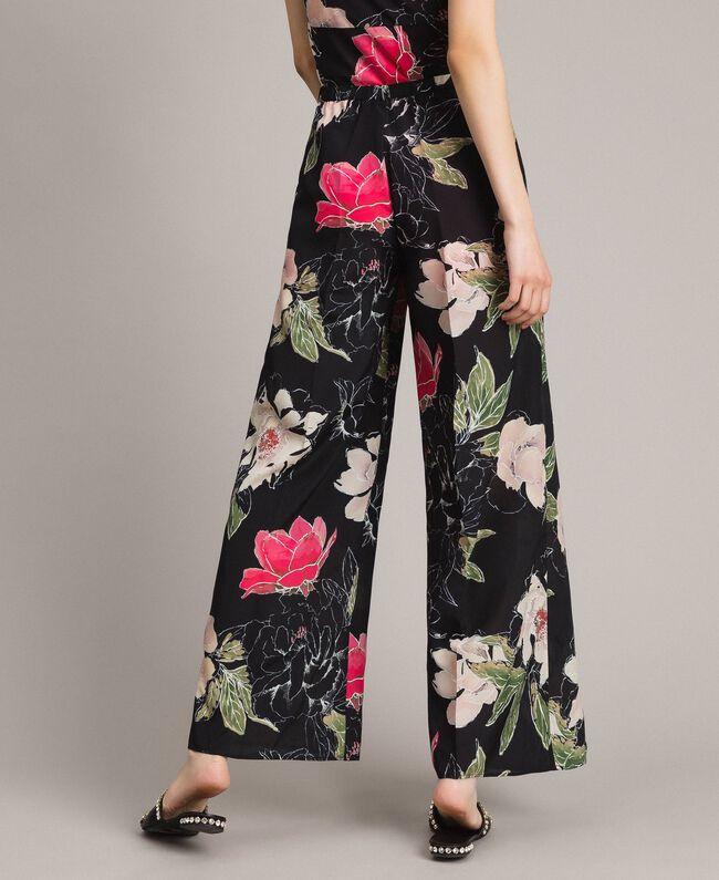 Pantalon en crêpe de Chine à imprimé floral Imprimé Fleur Noir Total Femme 191MT2212-03