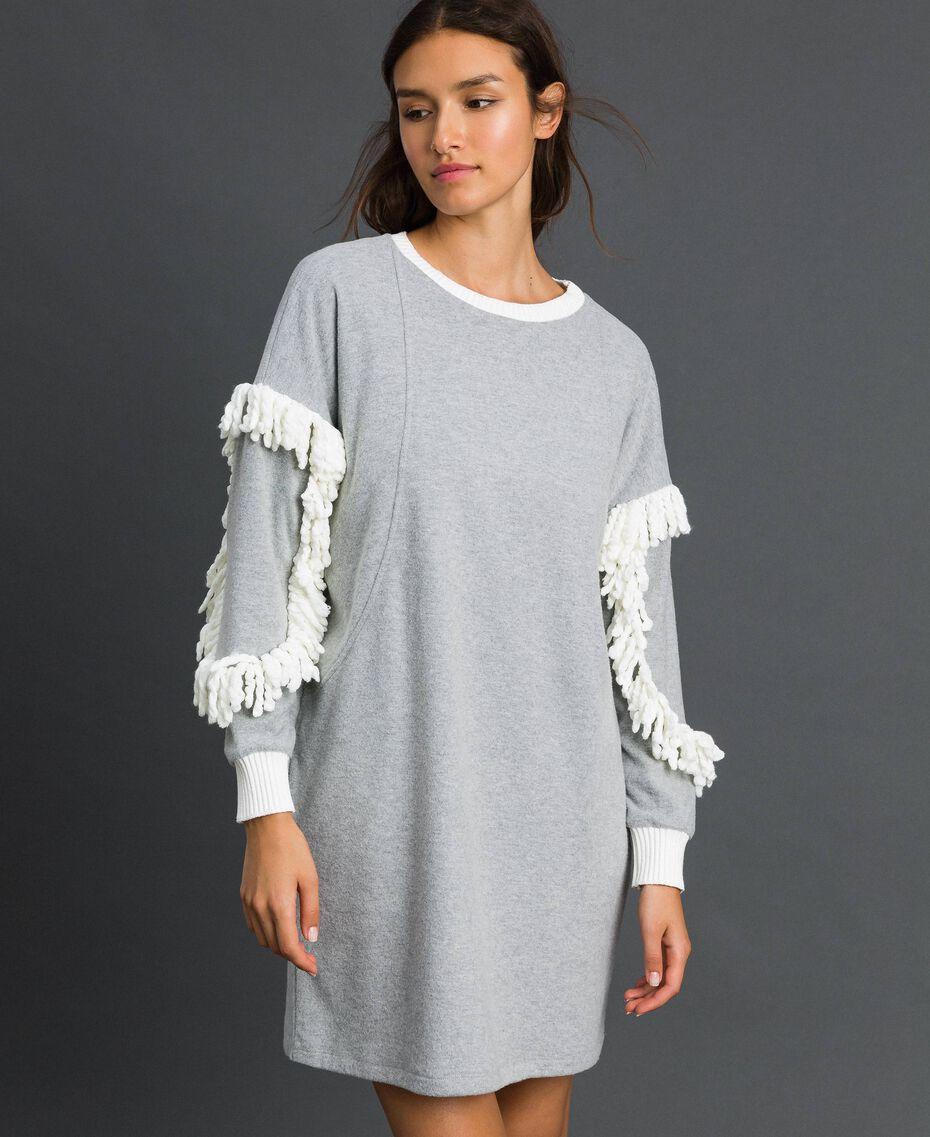 Chemise de nuit avec franges Gris Mélangé Femme 192LL2EEE-02