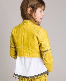 "Faux leather jacket with zip ""Bamboo"" Yellow Child 191GJ2103-03"