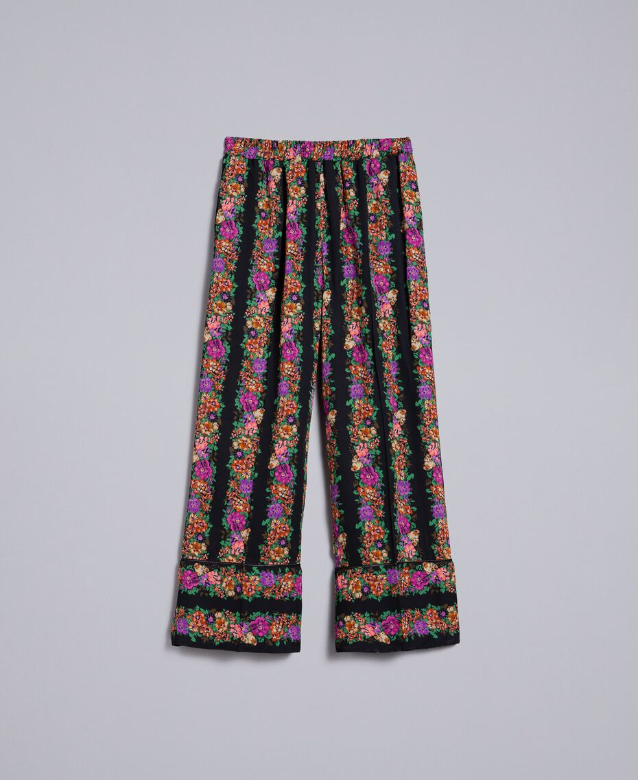 Floral print georgette cropped trousers Flower and Black Stripe Print Woman TA82X5-0S