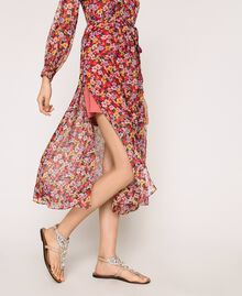 """Floral chiffon full-length gown """"Jasper"""" Red Pansies Print Woman 201TP2545-05"""