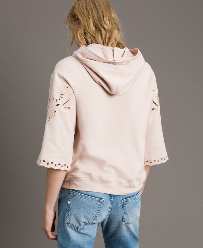 Sweatshirt with broderie anglaise embroidery Bud Pink Woman 191TP2593-03