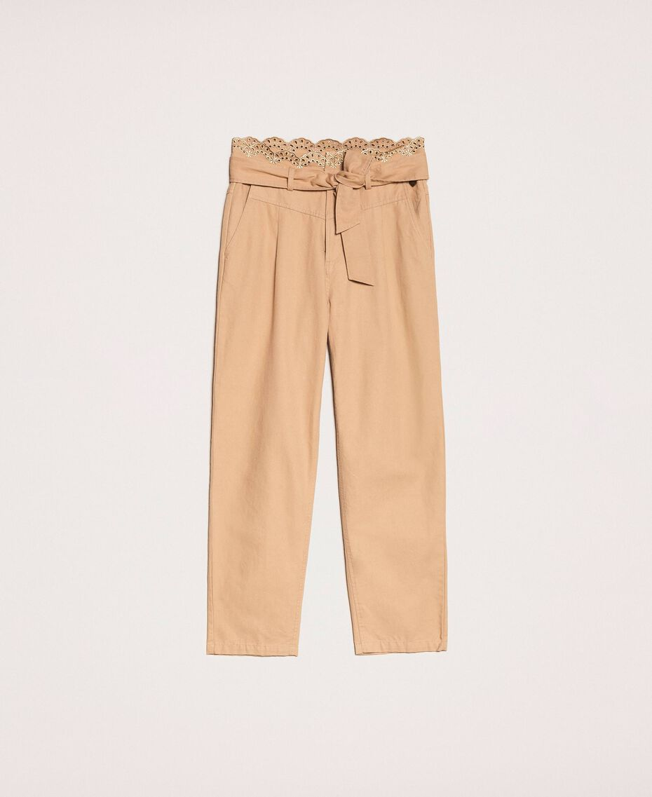 """Canvas trousers with broderie anglaise """"Dune"""" Beige Woman 201TP2015-0S"""