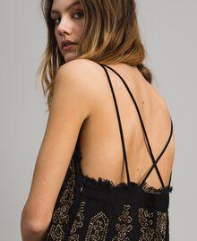 Robe en lin ornée de perles et de sequins Noir Femme 191TT2063-04