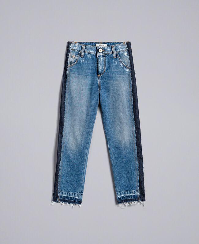 "Jean fluide avec bandes en contraste Bleu ""Denim Moyen"" Enfant GA82VA-01"