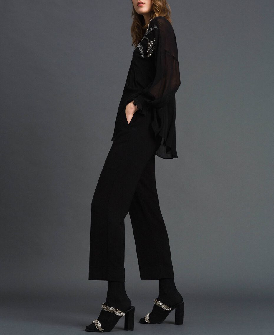 Pantaloni in georgette Nero Donna 192TP2387-01