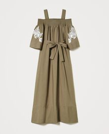 Off-shoulder poplin dress with embroidery Black Woman 211TT2475-0S