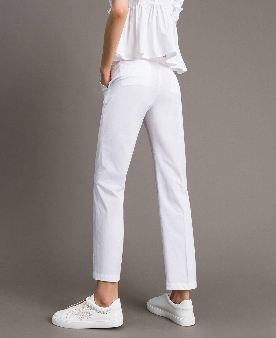 Poplin drainpipe trousers White Woman 191TT2231-03
