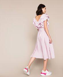 Robe mi-longue en popeline à rayures Jacquard Rayures Bâton Rose «Bonbon» Femme 201ST202J-03