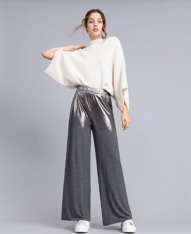 Pantalon palazzo en jersey Gris moyen chiné Femme IA81KK-01
