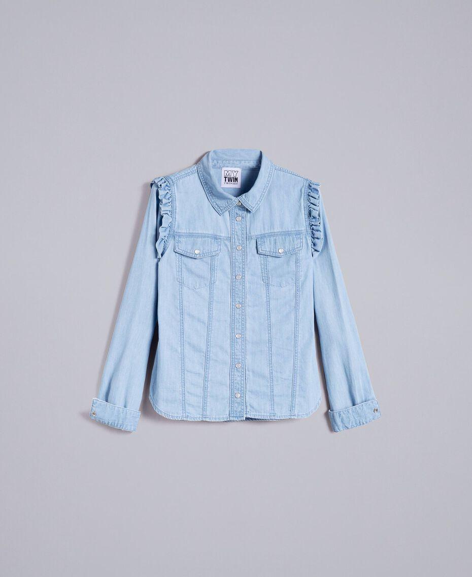 Рубашка из денима с рюшами Синий Деним женщина JA82U4-0S