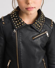 Faux leather biker jacket with studs Black Child 192GJ2020-04