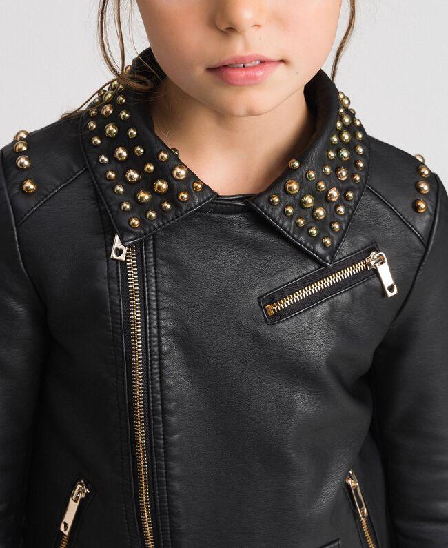 Blouson perfecto en similicuir avec clous Noir Enfant 192GJ2020-04