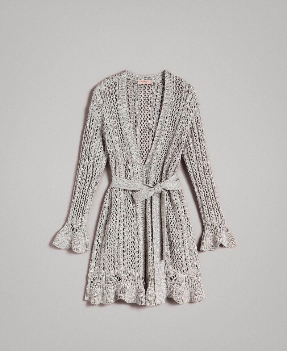 Lurex maxi cardigan Silver Woman 191TP3352-0S