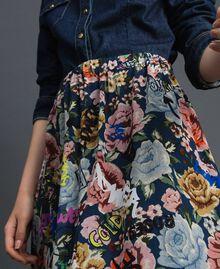 Maxirock mit Blumen-Graffiti-Print Blumen-Graffiti-Print Blau Frau 192MP2223-04