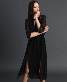 Georgette long dress with embroidery Black Woman 192TP2340-01