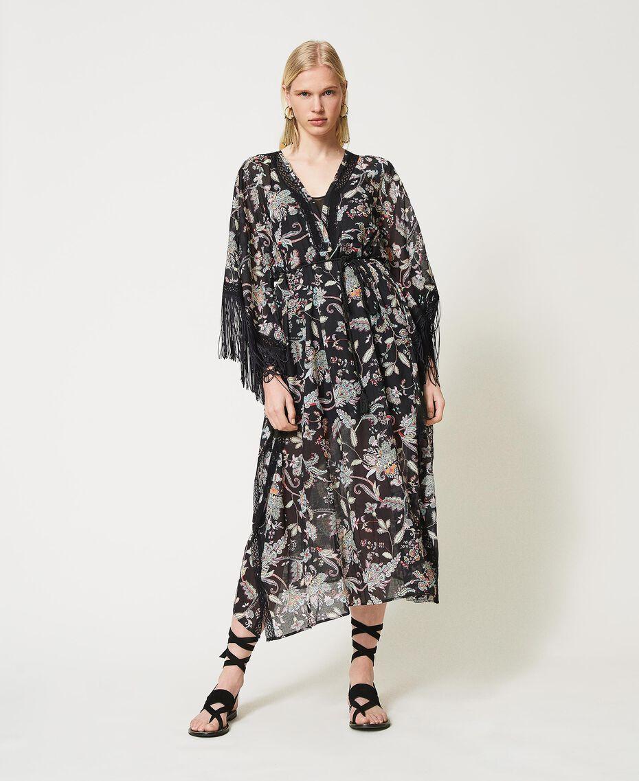 Muslin floral kaftan dress Black Indian Flower Print Woman 211TT2683-01