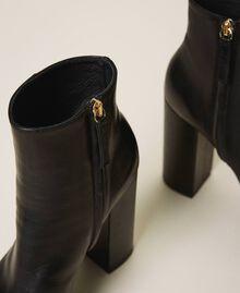 Bottines à plateforme en cuir Noir Femme 202TCP152-04