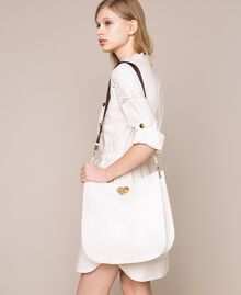 Leather hobo bag with heart White Snow Woman 201TA7050-0S