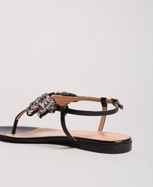 Leather sandals with jewelry butterfly Black Woman 191TCP106-04