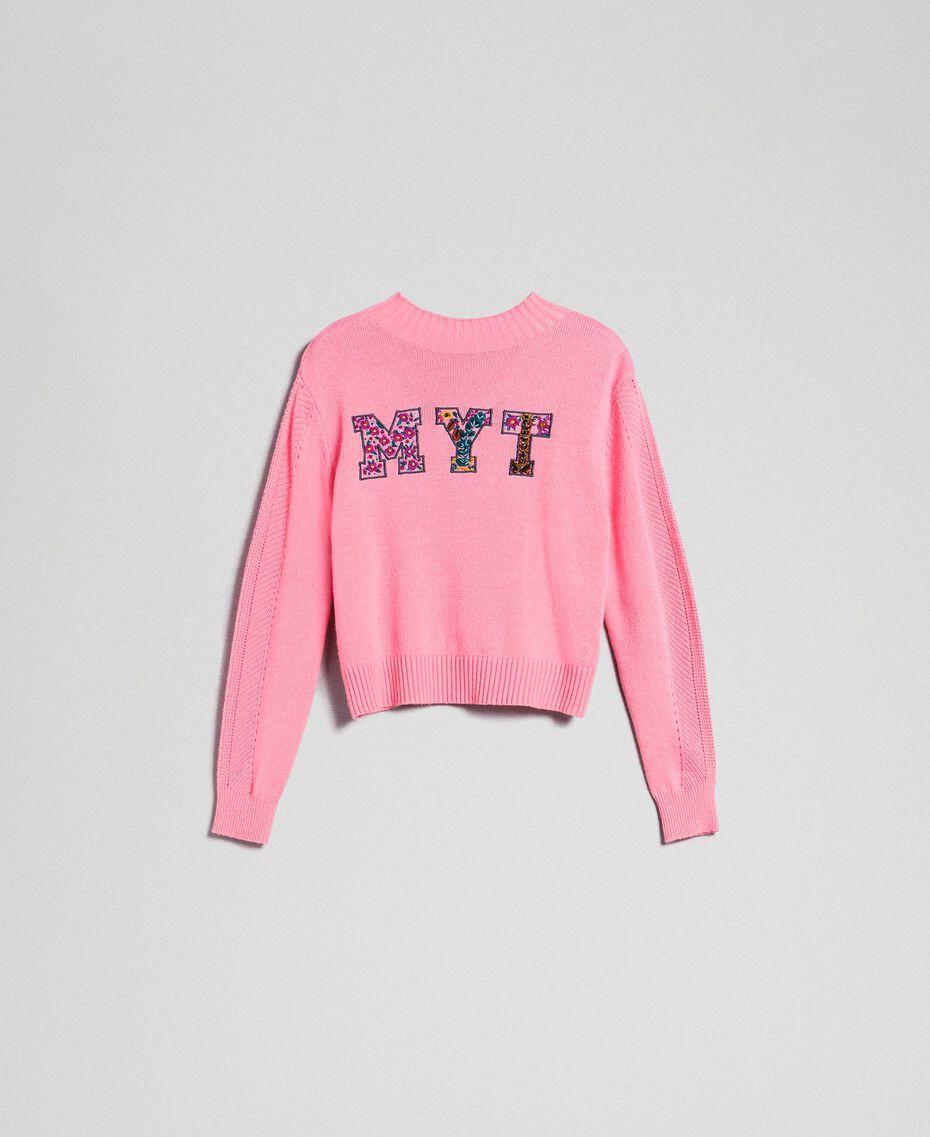 Pull boxy en laine mélangé Rose «Dragées» Femme 192MP3140-0S