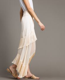 """Long satin skirt with flounces and fringes """"Milkway"""" Beige Woman 191LM2BCC-02"""