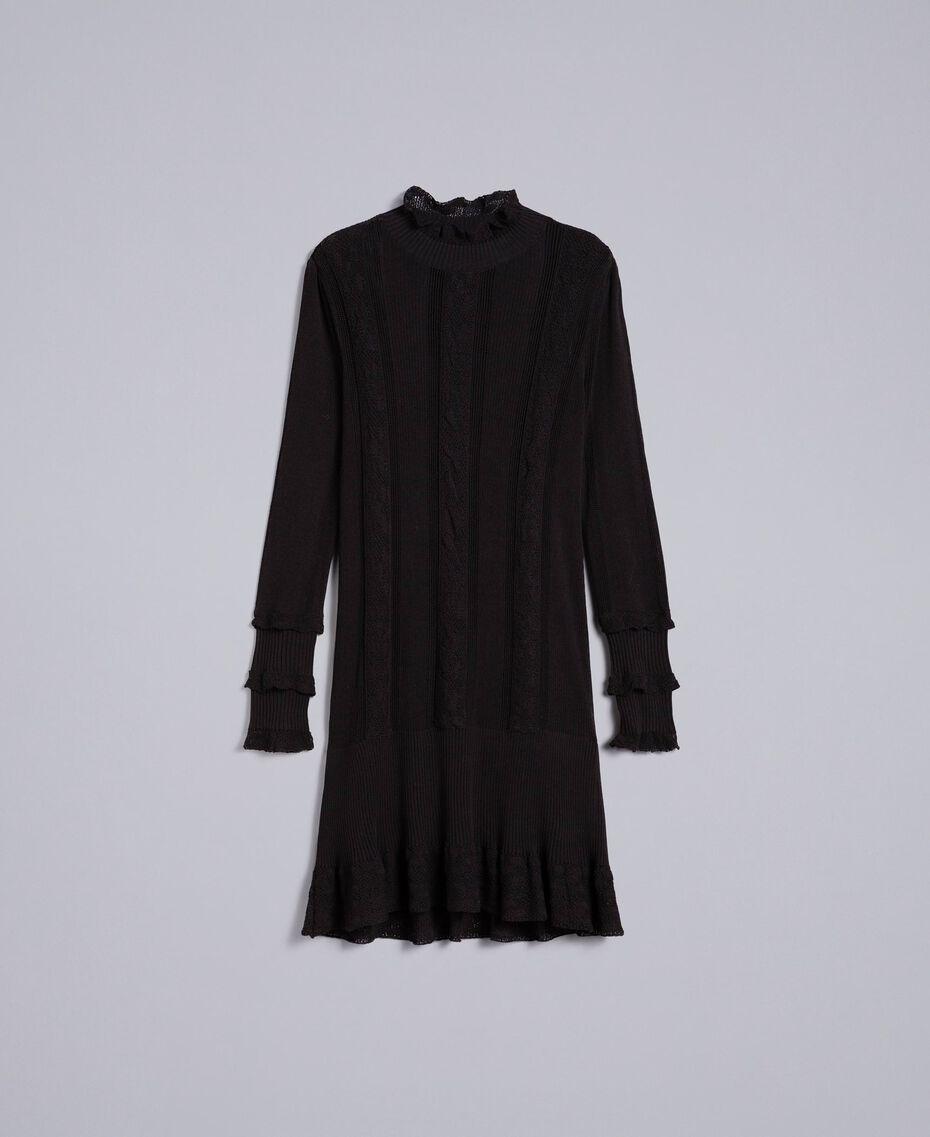 Kleid aus Viskose und Baumwolle mit Spitze Schwarz Frau TA83FB-0S