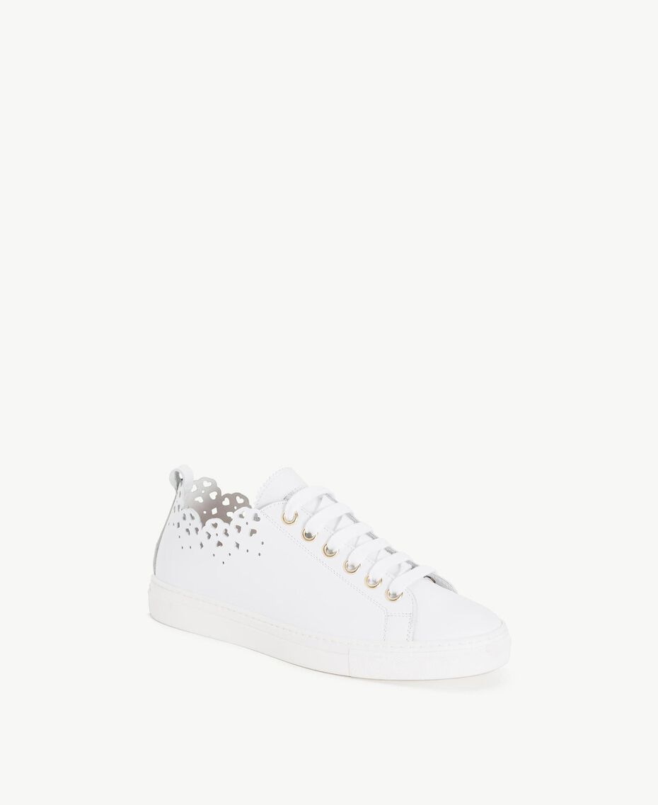 TWINSET Scalloped sneakers White Woman CS8TFY-02