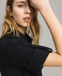 Camicia in popeline con pizzo Nero Donna 191TT2238-02