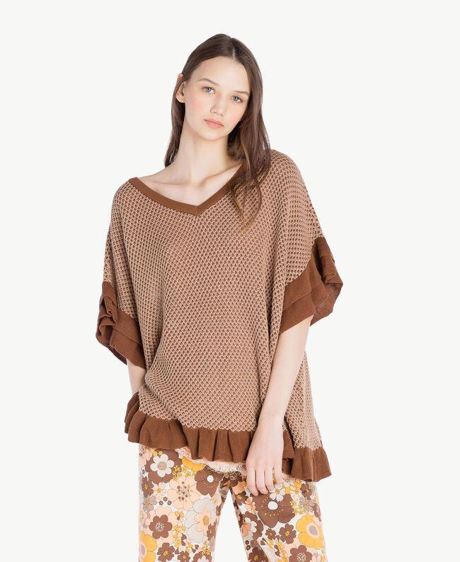 "Mesh poncho Two-tone ""Toffee"" Brown / ""Amphora"" Brown Woman SS83CQ-01"