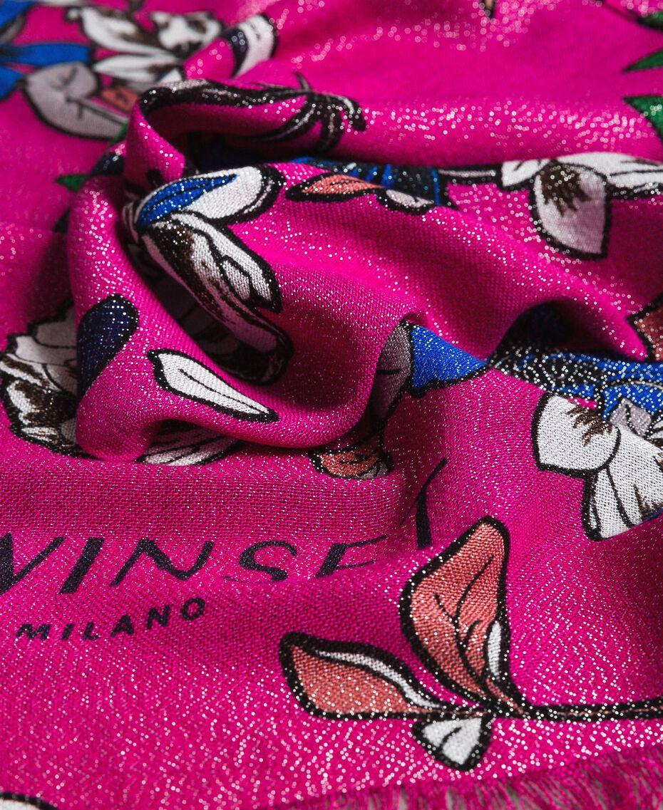 Шарф из вискозы и люрекса с цветочным принтом Анемоново-Розовый Принт женщина 191TA4368-03