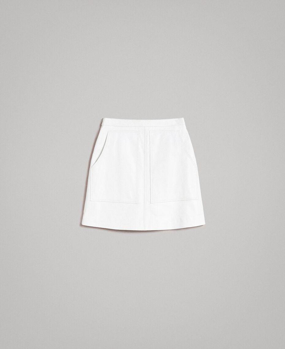 Minirock aus Leder Weiß Frau 191TP2163-0S