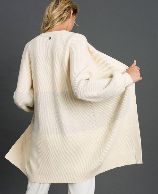 """Maxi cardigan with lurex band and brooch """"Creamy"""" White Striped / Silver Woman 192ST3081-03"""