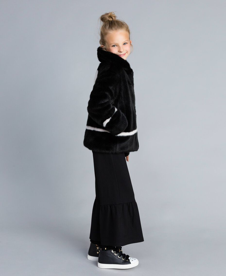 "Faux fur jacket Bicolour Black / ""Blush"" Pink Child GA82AN-02"