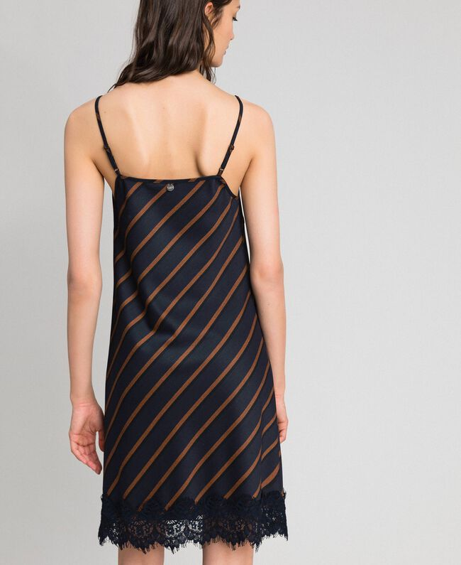 Pin stripe slip dress with lace Night Blue Striped / Red Earth Woman 192ST2234-03