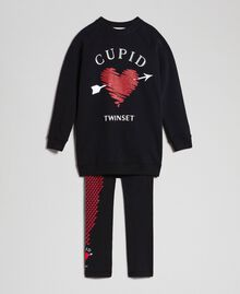 Maxi sweatshirt with heart and leggings Black / Tiny Heart Print Child 192GJ2550-0S