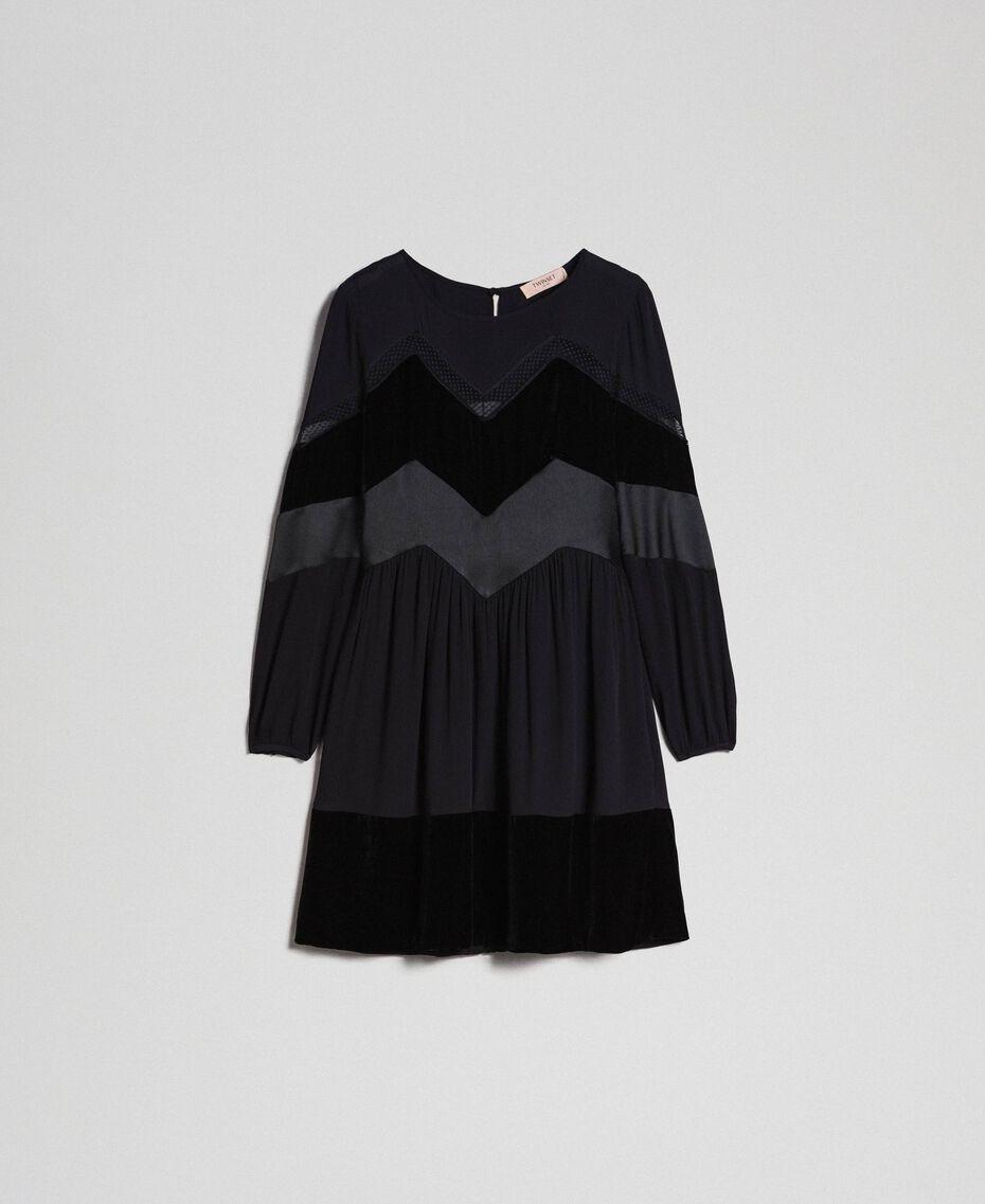 Robe avec détails en velours Noir Femme 192TT2281-0S