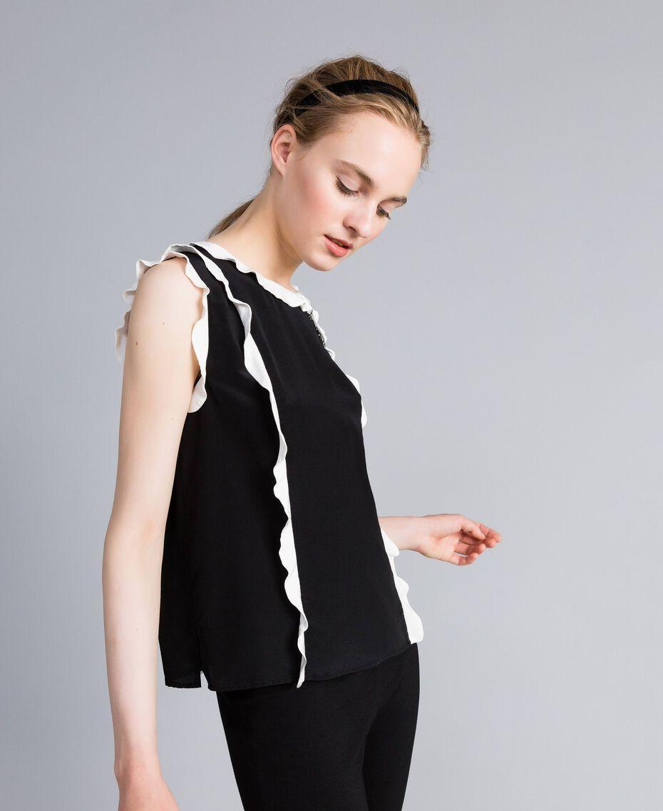 "Silk top with ruches Bicolour Black / ""Snow"" White Woman PA82ES-02"