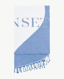 "Fringe beach towel Two-tone ""Lagoon"" Blue / Optical White Woman MS8ZGG-01"